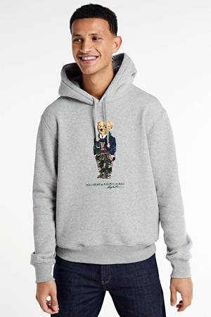 hoodie met printopdruk lichtgrijs melange