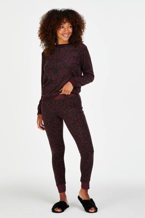 fleece loungelegging met panterprint rood/zwart