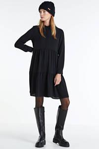 JACQUELINE DE YONG jurk Piper met volant zwart, Zwart