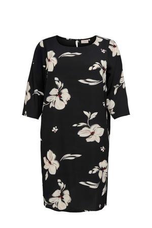 gebloemde jurk Tine zwart/ecru
