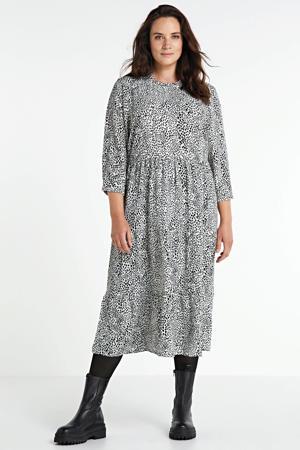 jurk Tine met hartjes en ruches wit/zwart
