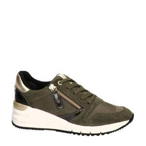 leren wedge sneakers groen/goud