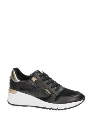 leren sneakers zwart/goud