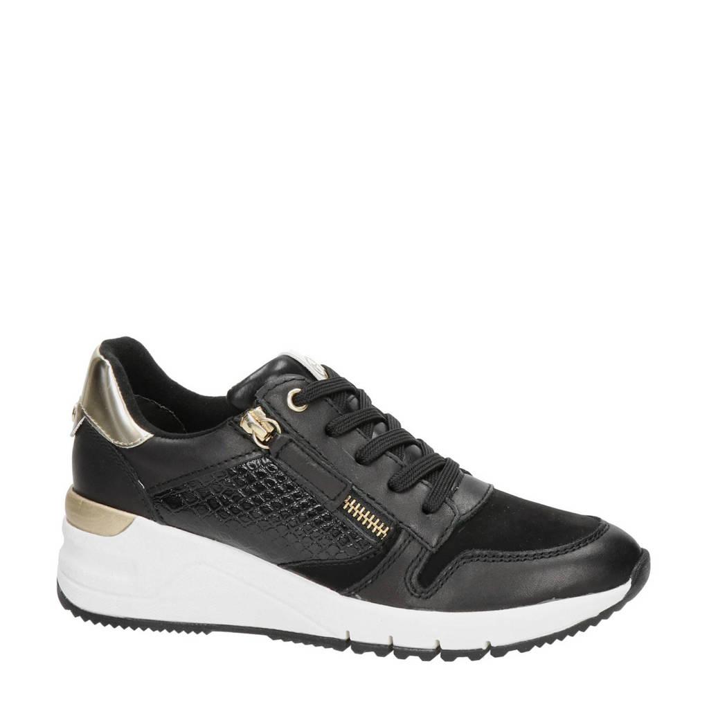 Tamaris   leren wedge sneakers zwart/goud, Zwart/goud
