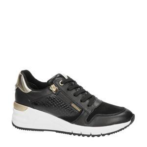 leren wedge sneakers zwart/goud