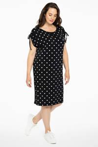 Yoek jurk met stippen zwart/wit, Zwart/wit