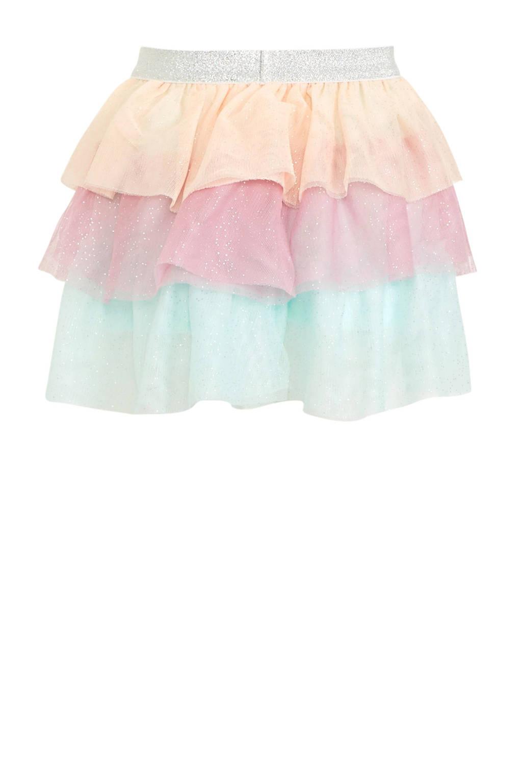 C&A Palomino rok met glitters roze/mintgroen/oranje, Roze/mintgroen/oranje