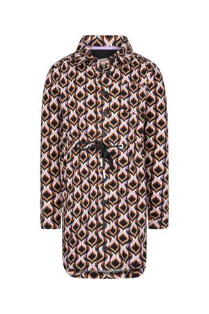 blousejurk Jazzin met all over print bruin/lila/zwart