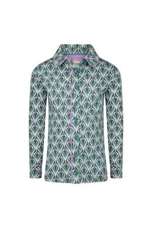 blouse Mainline Disco met all over print groen/lila