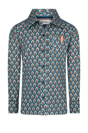 overhemd Check Out The Groove met all over print blauw