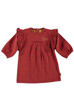 B.E.S.S A-lijn jurk met panterprint en ruches koraalrood