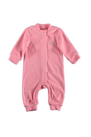B.E.S.S baby gestreept fluwelen boxpak roze