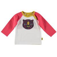 B.E.S.S baby longsleeve met printopdruk roze/okergeel/wit, Roze/okergeel/wit