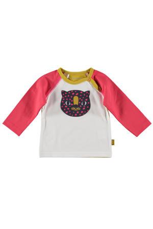 B.E.S.S baby longsleeve met printopdruk roze/okergeel/wit