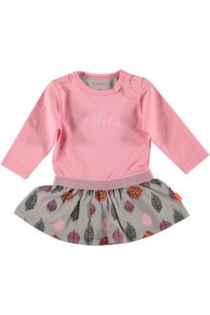 B.E.S.S A-lijn jurk met all over print roze/grijs