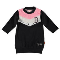 B.E.S.S baby sweater antraciet/roze/wit, Antraciet/roze/wit