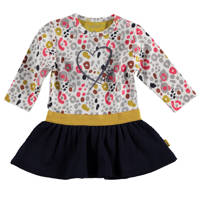 B.E.S.S jurk met all over print wit/donkerblauw, Wit/donkerblauw