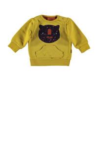 B.E.S.S baby sweater met printopdruk okergeel, Okergeel