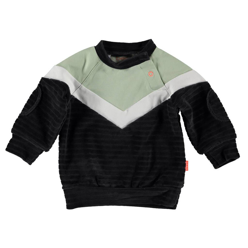 B.E.S.S baby sweater antraciet/lichtgroen/wit, Antraciet/lichtgroen/wit