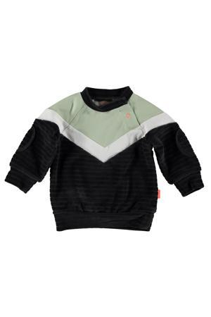 B.E.S.S baby sweater antraciet/lichtgroen/wit