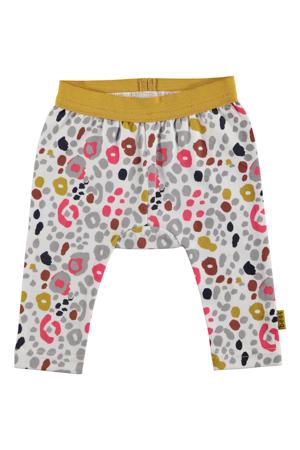 B.E.S.S baby broek met panterprint grijs/okergeel/roze