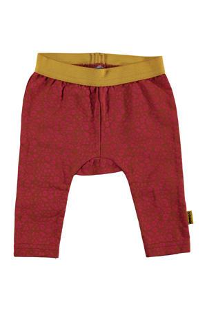 B.E.S.S baby broek met panterprint rood/okergeel