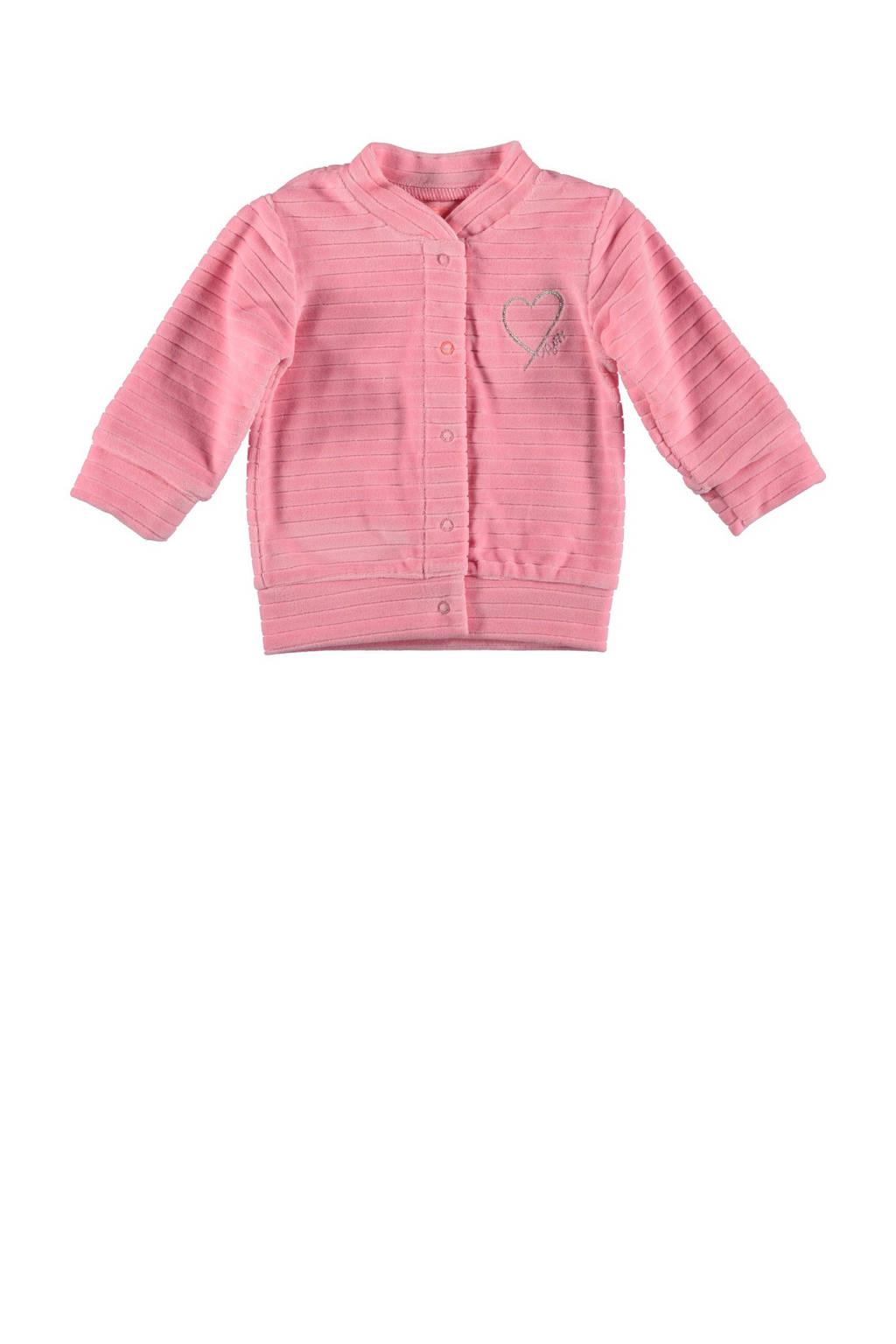 B.E.S.S baby gestreept fluwelen vest roze, Roze