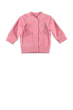 B.E.S.S baby gestreept fluwelen vest roze