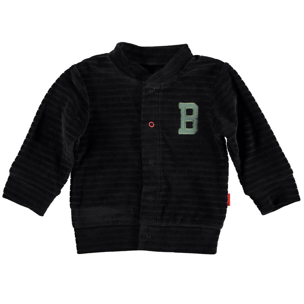 B.E.S.S baby gestreept fluwelen vest antraciet, Antraciet