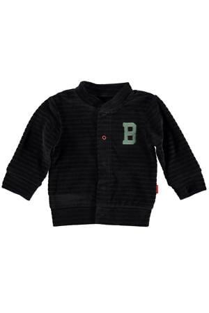B.E.S.S baby gestreept fluwelen vest antraciet