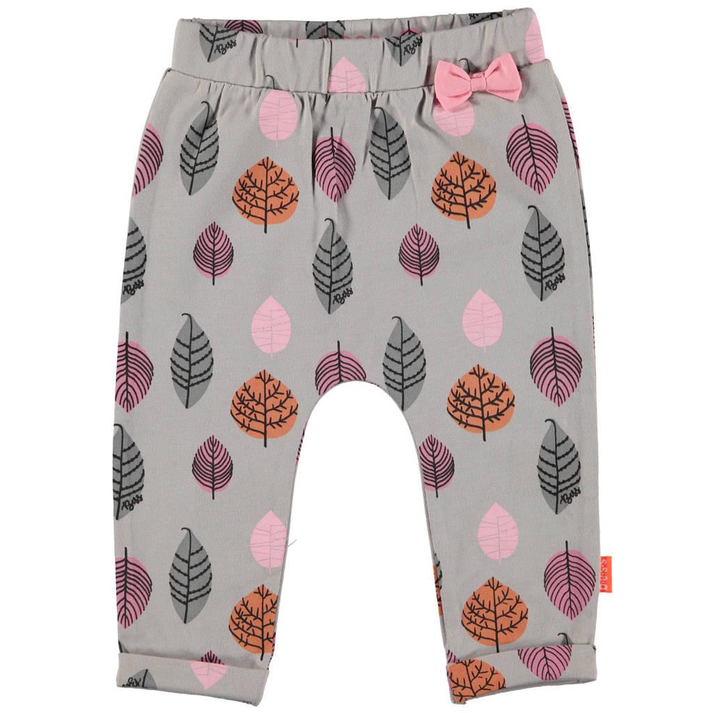 B.E.S.S baby broek met all over print grijs/roze/oranje, Grijs/roze/oranje