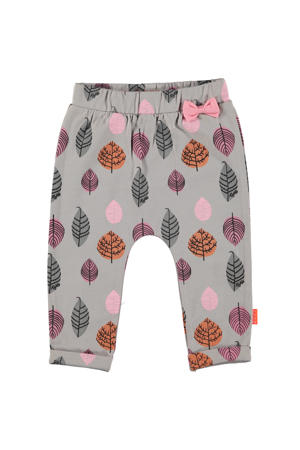B.E.S.S baby broek met all over print grijs/roze/oranje
