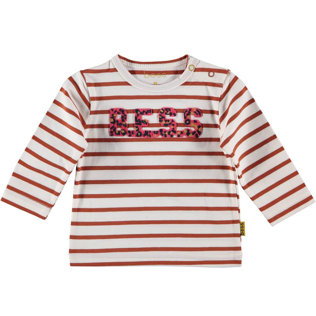 B.E.S.S baby gestreepte longsleeve rood/offwhite, Rood/offwhite