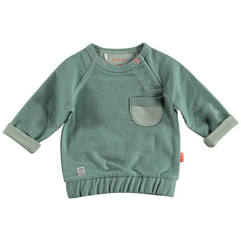 B.E.S.S baby sweater groen, Groen