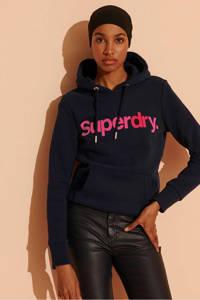 Superdry hoodie G1-Overhead Hood met tekst marine/roze, Marine/roze