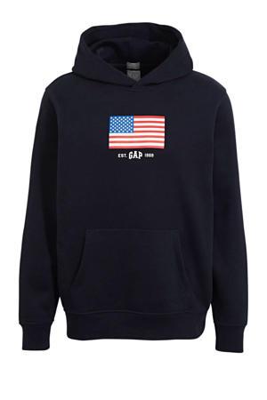 hoodie met logo donkerblauw/rood/blauw