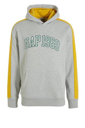 hoodie met printopdruk grijs/geel/groen