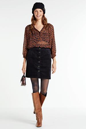 blouse ErdonaePW BL met all over print bruin