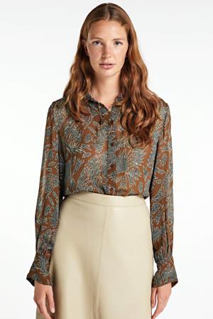 blouse EsmaPW SH met all over print bruin