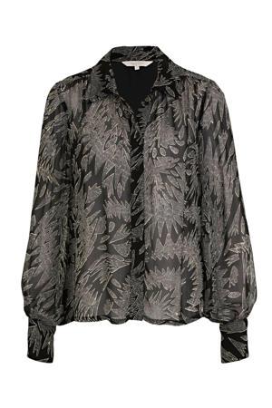 blouse EsmaPW SH met all over print zwart