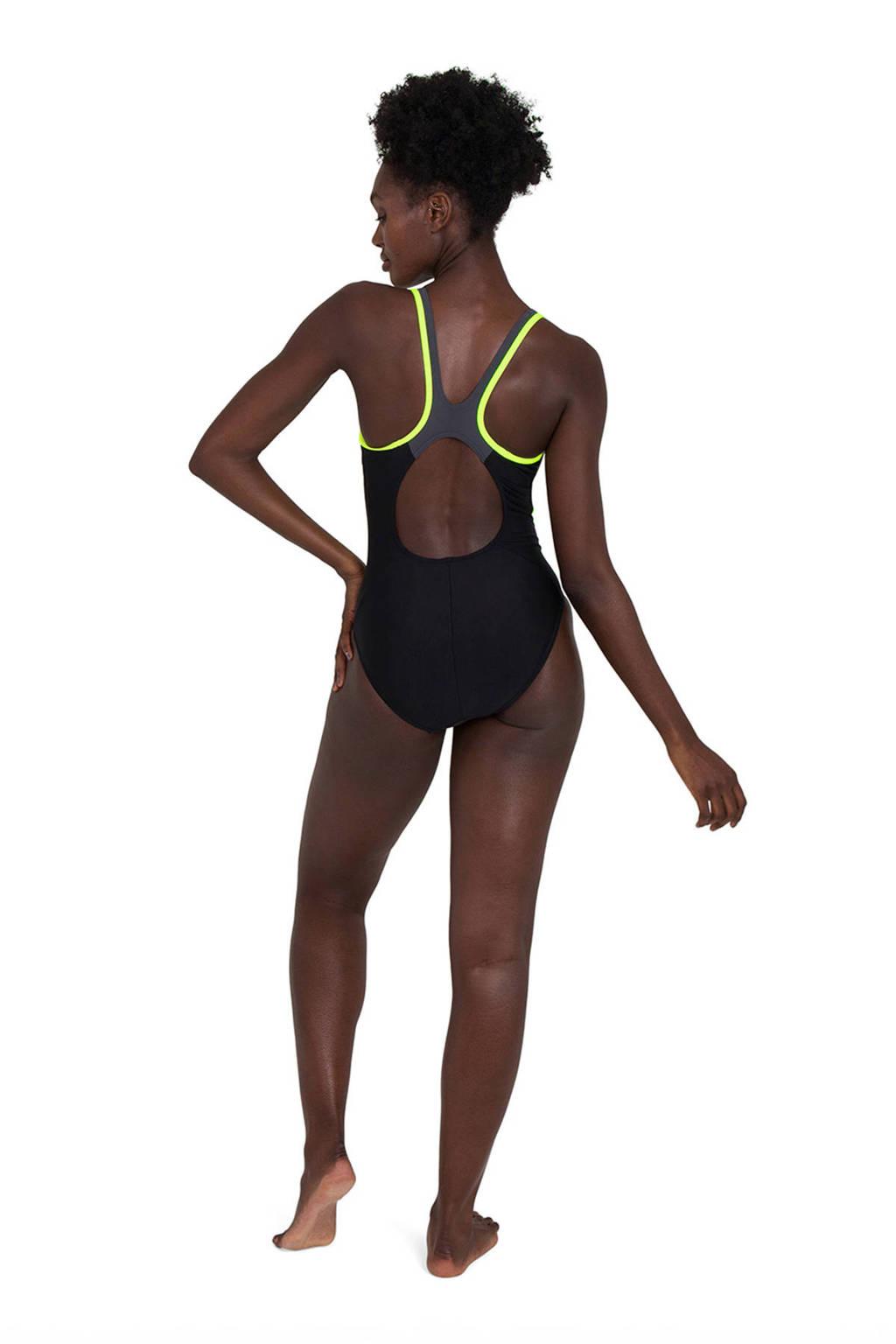 Speedo sportbadpak Splice zwart/geel, Zwart/geen