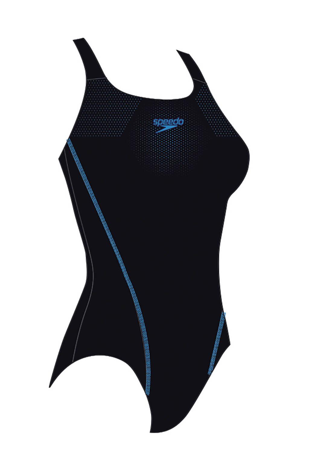 Speedo Endurance10 sportbadpak Medalist zwart/blauw, Zwart/blauw