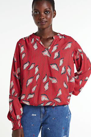 top met all over print rood/wit/zwart