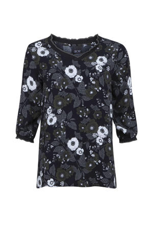 top met all over print en ruches donkerblauw/grijs/wit