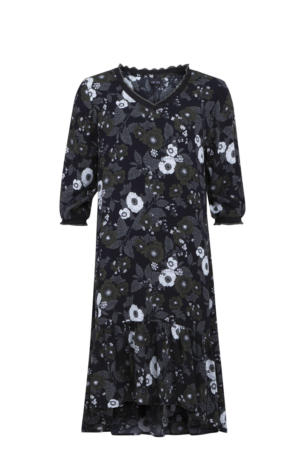 CHOISE semi-transparante jurk met all over print en ruches donkerblauw/grijs/wit, Donkerblauw/grijs/wit