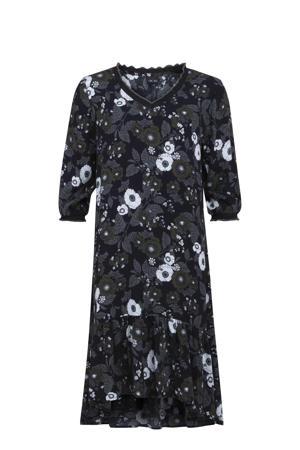 semi-transparante jurk met all over print en ruches donkerblauw/grijs/wit