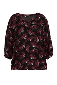 CHOISE top met all over print zwart/rood/wit, Zwart/rood/wit