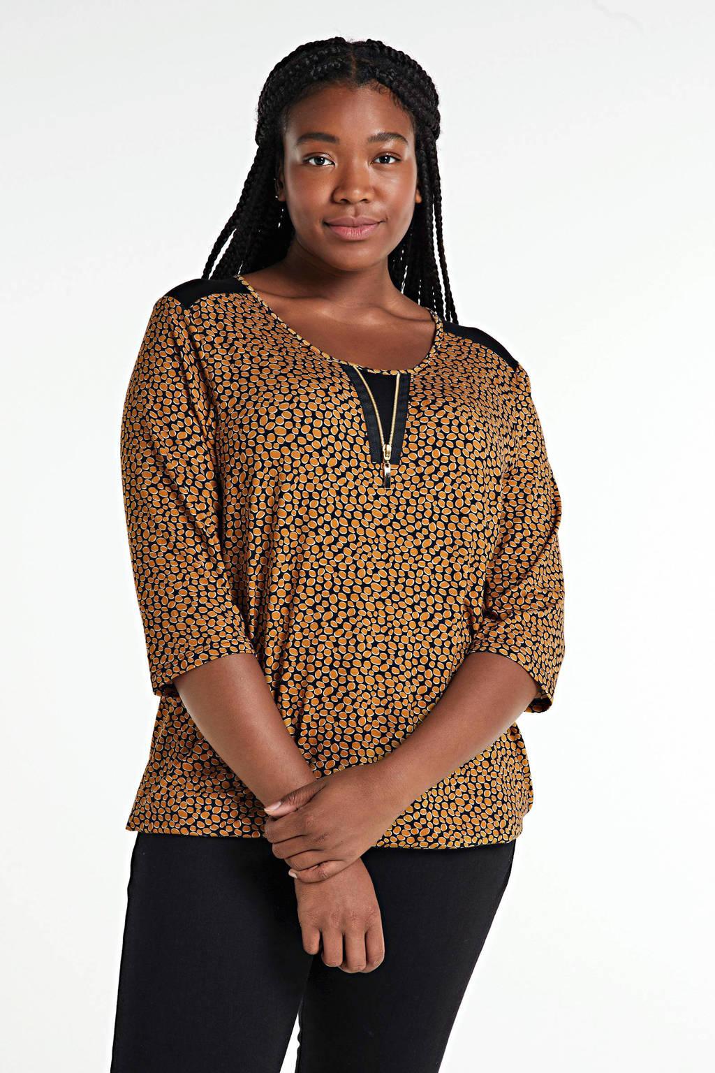 CHOISE top met all over print donker oranje/zwart/wit, Donker oranje/zwart/wit