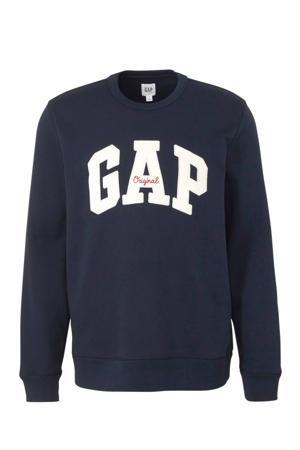 sweater met logo en borduursels donkerblauw