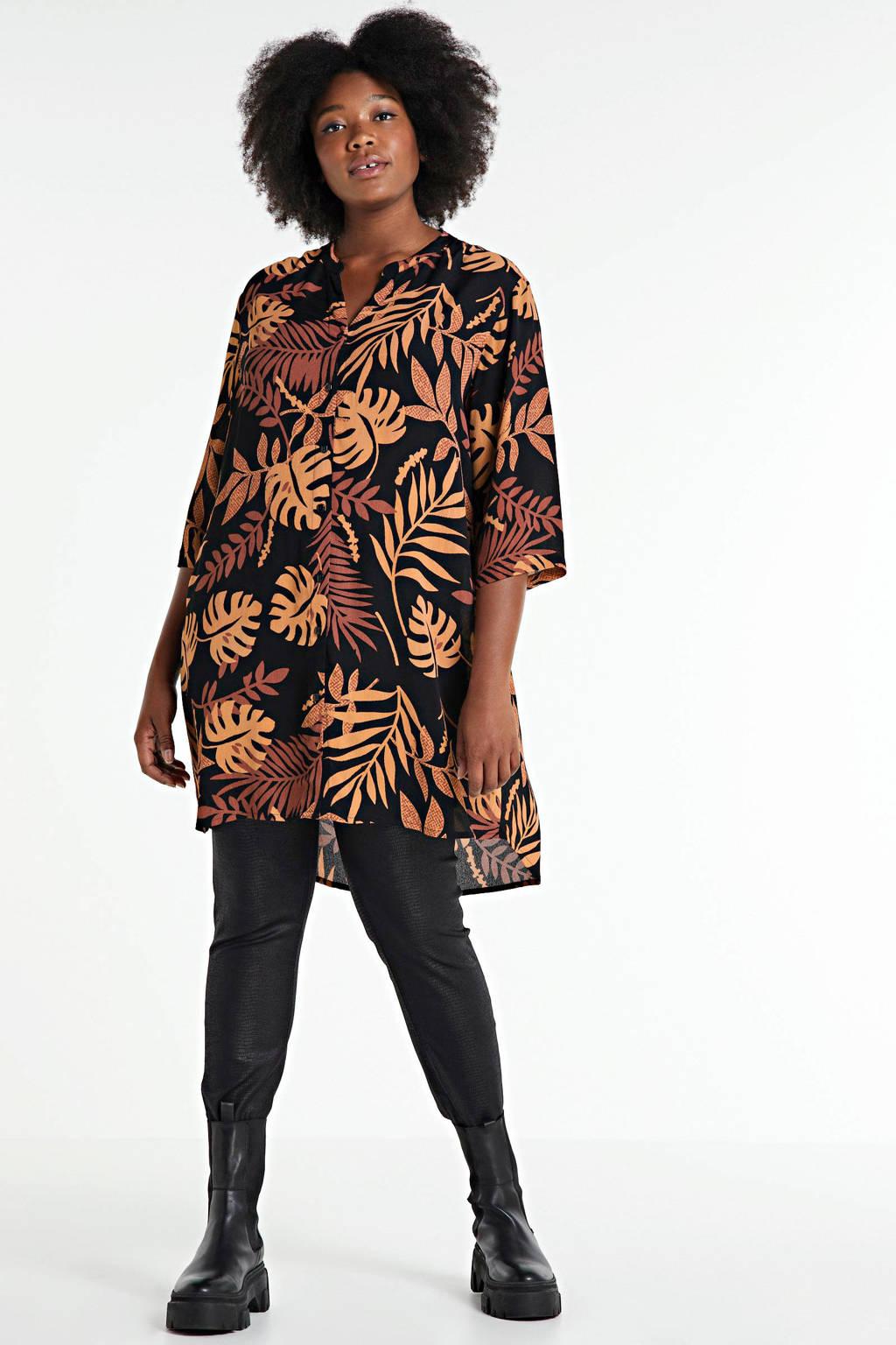 CHOISE tuniek met bladprint zwart/oranje/donkerrood, Zwart/oranje/donkerrood
